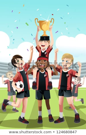 Kids Sport Team with Trophy. Kids Celebrating Football Champions Stock photo © matimix