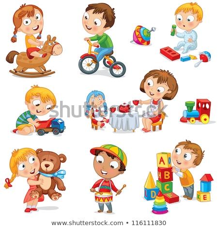 Foto stock: Little · girl · brinquedo · colorido · carro · sorrir · criança