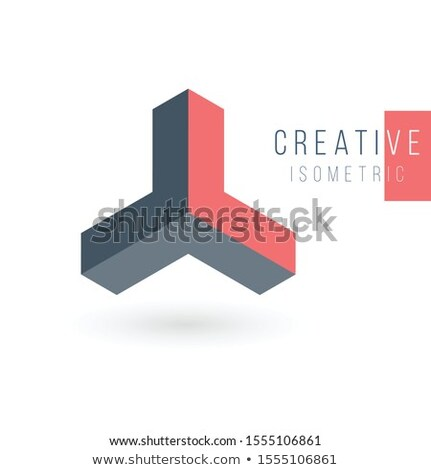 Isometric Three pointed star is enclosed in an orbit. Triple arrow triangle abstract 3d isometric lo Stock photo © kyryloff