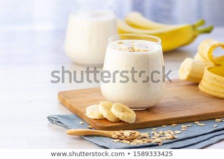 Bananen Smoothie Glas frischen Essen Holz Stock foto © tycoon