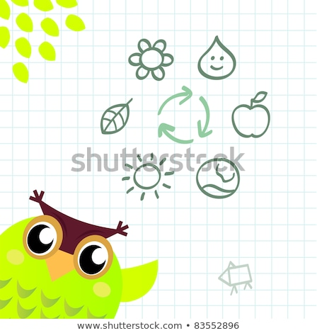 Stock photo: Recycle Owl with ecology and nature icos set