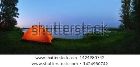 pomarańczowy · kemping · namiot · księżyc · gwiazdki - zdjęcia stock © vlad_star