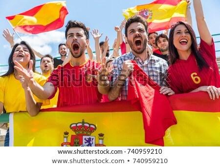 испанский · Футбол · 3d · человек · большой · футбольным · мячом · испанский · флаг - Сток-фото © photography33