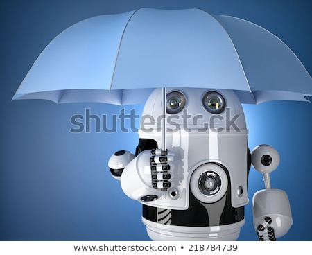 Robot with umbrella. Security concept. Contains clipping path Stock photo © Kirill_M