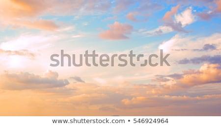miękkie · chmury · Świt · krajobraz · pomarańczowy · Błękitne · niebo - zdjęcia stock © meinzahn