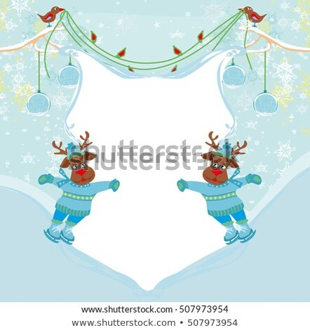 christmas reindeer with scarf skates on ice   abstract frame stock photo © jackybrown