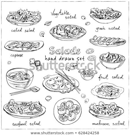 Сток-фото: салата · белый · изолированный · реалистичный · иллюстрация · кухне