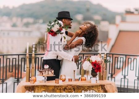 Sorridere Coppia champagne balcone home amore Foto d'archivio © wavebreak_media