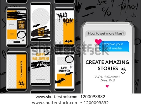 Editable stories templates, Halloween, streaming, create your amazing stories, set for brands and bl Stock photo © ikopylov