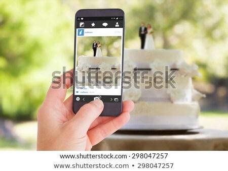 heykelcik · çift · düğün · pastası · park · gelin - stok fotoğraf © ruslanshramko