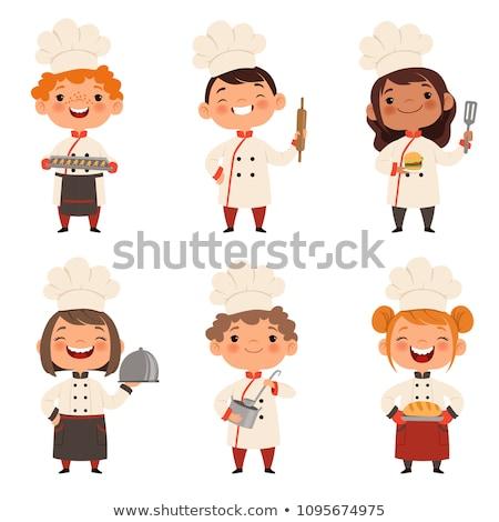 Desenho animado menina garçom sorridente ilustração crianças Foto stock © cthoman