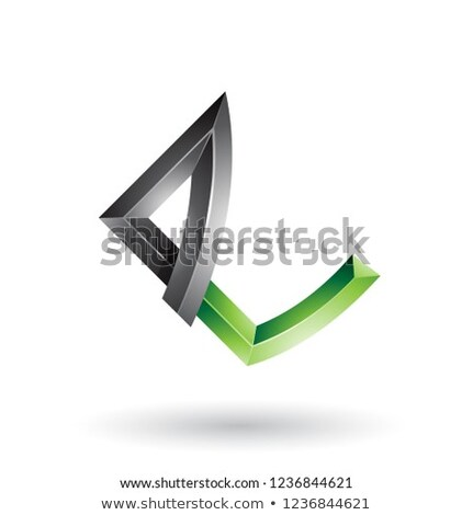 Black and Green Embossed Letter E with Bended Joints Vector Illu Stock photo © cidepix