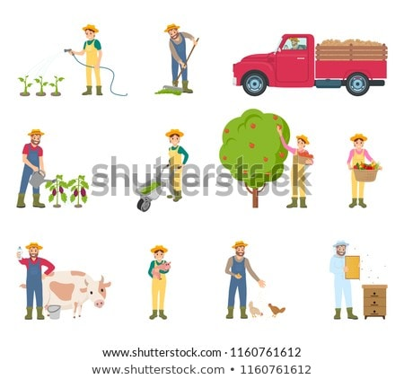 Farmer with Trolley Compost Vector Illustration Stock photo © robuart
