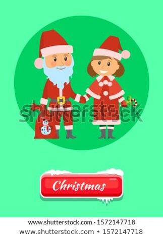 Christmas Push Button Santa Claus and Snow Maiden Stock photo © robuart