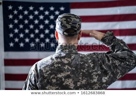 katona · zászló · elöl · kilátás · férfi · kék - stock fotó © andreypopov