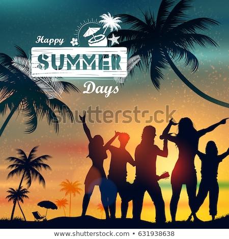 yaz · zaman · poster · örnek · dizayn · tropikal · plaj - stok fotoğraf © vectomart