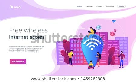 öffentlichen wifi Landung Seite Surfen Web Stock foto © RAStudio