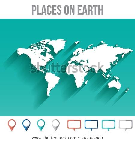 Mapa do mundo vazio modelo vermelho localização pin Foto stock © cienpies