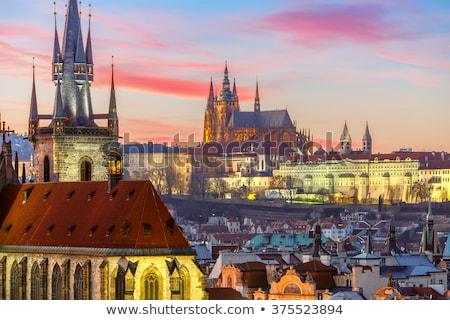 Luchtfoto stad Praag Tsjechische Republiek kerk gebouwen Stockfoto © manfredxy