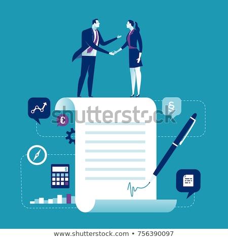 Aláírás szerződés vektor metafora férfi toll Stock fotó © RAStudio