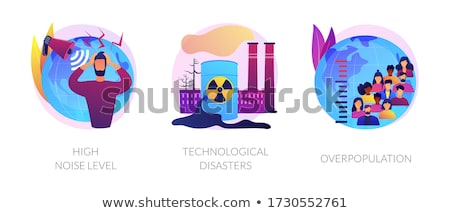 Environmental problems caused by human factor, negative impact on nature app interface template. Stock photo © RAStudio