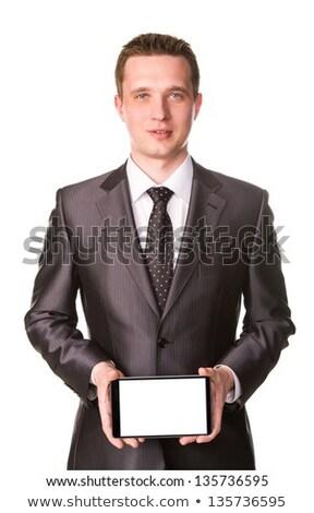 Young Businessmans Hands Working On A Tablet Pc Comuter Foto d'archivio © Len44ik
