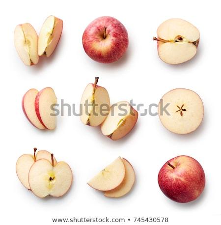 Foto stock: Fatias · maçã · vermelha · isolado · branco · maçã · saúde