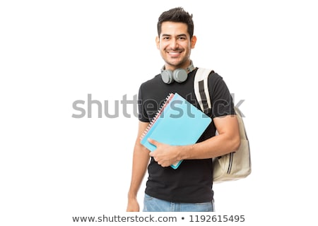 Foto stock: Jovem · estudante · isolado · branco · mulher · fundo