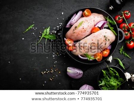 Fresche greggio pollo carne filetto marinato Foto d'archivio © yelenayemchuk