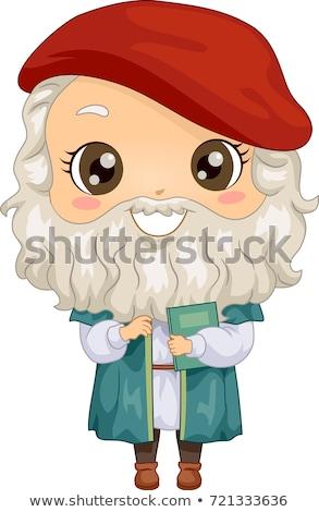 Kid Boy Costume Little Da Vinci Illustration Stock photo © lenm