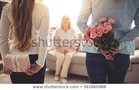 Virágok ajándék doboz anyák nap fából készült naptár Stock fotó © furmanphoto