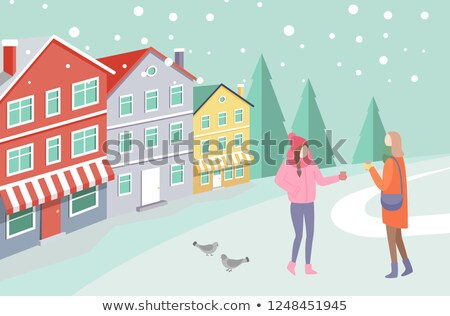 Women on Snowing Street near Colorful House Vector Stock photo © robuart