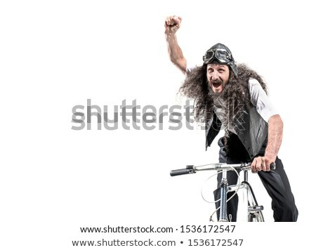 Portrait of a nerdy cyclist making a victory gesture Stock photo © majdansky