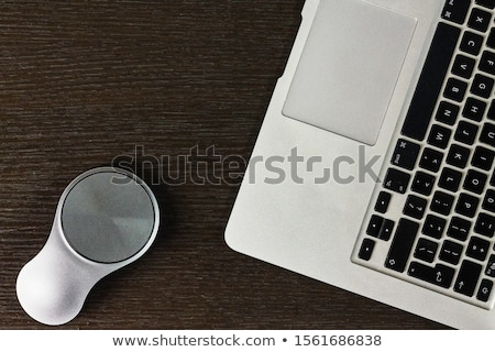 Office desk table with laptop and coffee Stock photo © karandaev