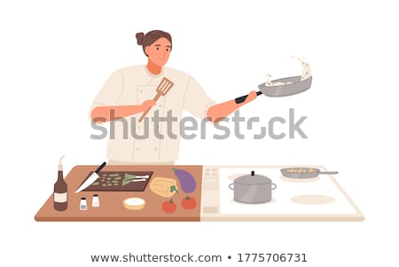 Smiling Male Frying Vegetables in Kitchen Vector Stock photo © robuart