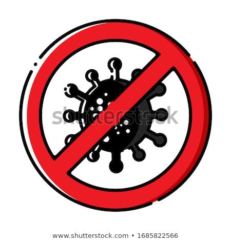Coronavirus, ncov, covid - 19 logo. Warning sign. Virus cartoon icon with simple inscription and red Stock photo © ExpressVectors