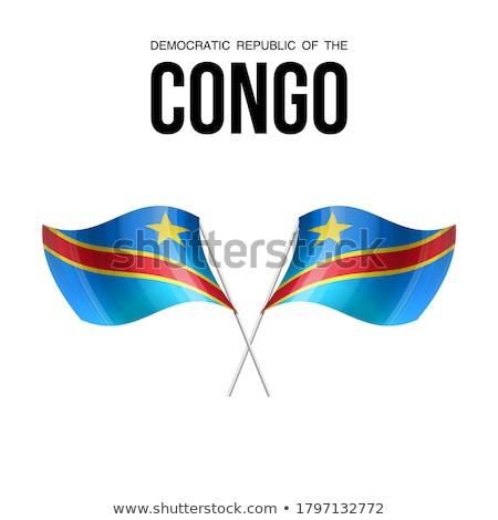 Congo banderą biały świat podpisania Afryki Zdjęcia stock © butenkow