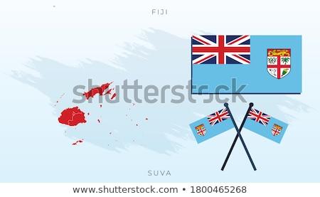 Fiji bandiera bianco cuore vintage panno Foto d'archivio © butenkow