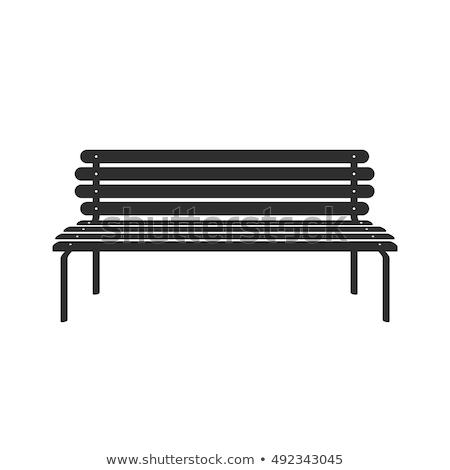 Retro wooden bench silhouette Stock photo © barsrsind