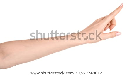 mujer · senalando · empujando · algo · índice · nina - foto stock © ilolab