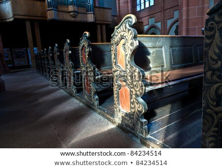 old wooden historic benches in the cathedral of Wetzlar Stock photo © meinzahn