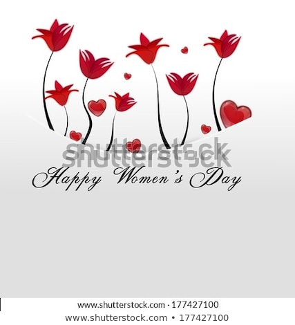 White Card Pocket With Red Flowers And Hearts Tucked Away On Mothers Day Stok fotoğraf © impresja26