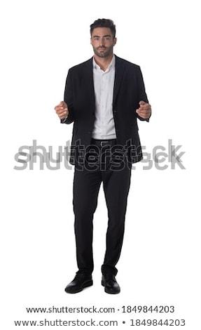 üzletember bemutat valami izolált üzlet kéz Stock fotó © fuzzbones0