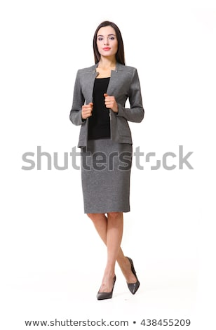beautiful woman in gray jacket isolated on white stock photo © elnur