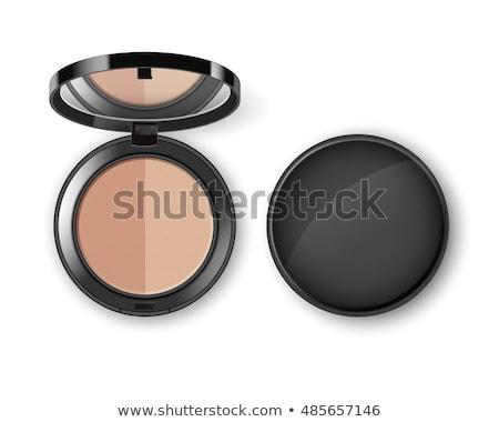 Cosmetic Makeup Powder in Black Round Plastic Case Stok fotoğraf © DenisMArt