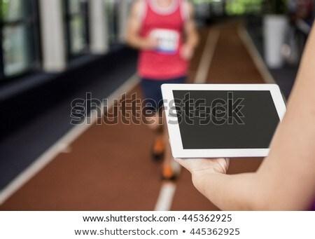 lopen · gymnasium · gezonde · man · vrouw · tredmolen - stockfoto © wavebreak_media