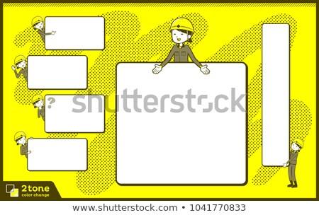 Tipo casco trabajador de la construcción 14 edificio mujeres Foto stock © toyotoyo
