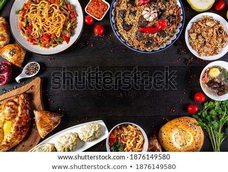 távolkeleti · leves · fa · asztal · tányér · zöldségek · étel - stock fotó © furmanphoto