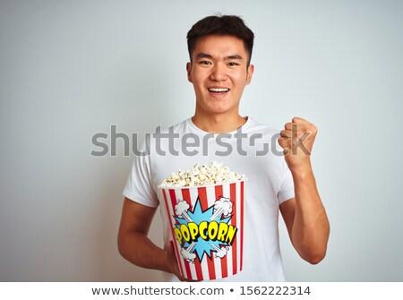 портрет молодые азиатских человека еды Сток-фото © deandrobot