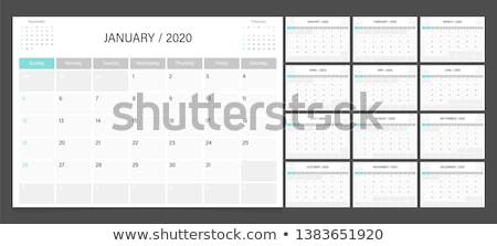 Vector kalender jaar week zwart wit sjabloon Stockfoto © nosik